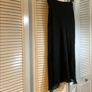Double sheer, side slit, elastic waist maxi skirt